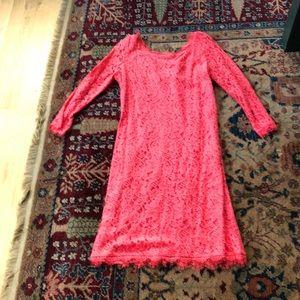 DVF Zarita lace dress size 8, coral lace